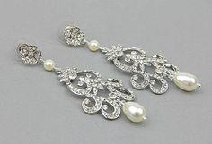 Chandelier Bridal Earrings, Statement Bridal Wedding Earrings,  Vintage Chandelier Earrings, Rhinestone crystal earrings  - Style 475 on Etsy, $79.00