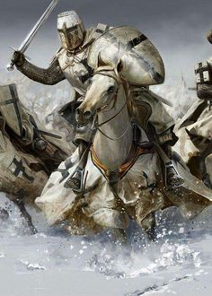 Teutonic, knight, white, horse, black cross, shield, sword.
