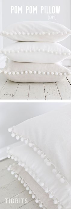 DIY Pom Pom Pillow fun and easy sewing project! The post DIY Pom Pom Pillow fun and easy sewing project! appeared first on Diy. Easy Sewing Projects, Sewing Projects For Beginners, Sewing Hacks, Sewing Tutorials, Diy Projects, Sewing Tips, Sewing Basics, Sewing Ideas, Diy Pompon