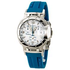 Tissot T0482171701702 Women's T-Race White Dial Blue Rubber Strap Chronograph Watch