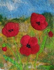 beautiful wet felted poppies wall art