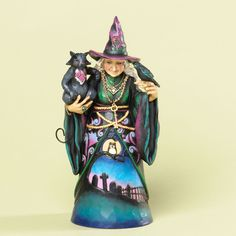Witch with Cat and Crow Figurine
