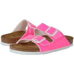 Birkenstock Arizona (Neon Pink Patent Birko-Flor   ) Women's Dress... ($100) ❤ liked on Polyvore featuring shoes, sandals, evening sandals, wide shoes, special occasion sandals, lightweight shoes and narrow shoes