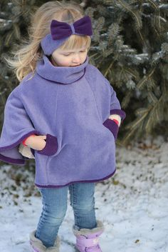 Purple Poncho Pattern by madebyrae Sewing Kids Clothes, Sewing For Kids, Baby Sewing, Diy Clothes, Fleece Poncho, Baby Poncho, Kids Poncho, Fleece Crafts, Fleece Projects
