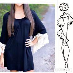 1 Left! Black Dress/Top W/White Fringe.
