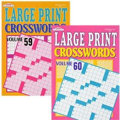 Large-Print Crossword Puzzle Books, 114 Pages (Set of 2)