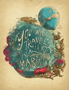 """You will travel in a land of marvel."" - Jules Verne Quote (Art Print by Biljana Kroll.)"