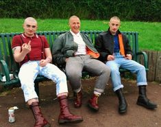 I thought only one of the three stooges was bald? Mode Skinhead, Skinhead Clothing, Skinhead Men, Skinhead Boots, Skinhead Reggae, Skinhead Fashion, Boy Fashion, Mens Fashion, Skinhead Style