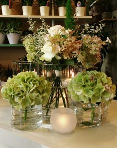 Fall hydrangea with pale pink roses