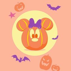 Retro Halloween, Halloween Crafts, Minnie Mouse Pumpkin, Cross Stitch Games, Disneyland Halloween, Halloween Illustration, Park Art, Mickey Head, Disney Scrapbook