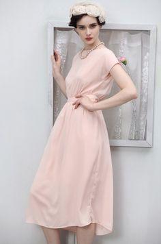short sleeved pink dress