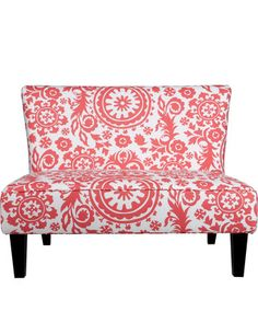 coral armless settee