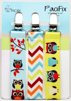 Baby Pacifier Clip- 3 Pack Pacifix - Unique Owl Design- Cute Accessorie for Boys- Quality Personalised Holder for any Soothers- Perfect For Teething Ring, Baby Bibs- Lovely Newborn Shower Gift, Binky, Pacifier Clips, Gifts For My Wife, Happy Kids, Baby Shower Gifts, Boy Or Girl, New Baby Products, Teething, Owl