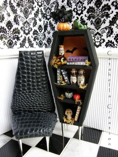 Doll's Coffin Bookcase and Chair by CatabellaCreations on Etsy, $28.00