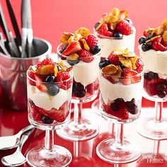Layers of Brie and cream cheese puree, fresh berries, and toasted almonds stack up to beautiful -- and surprisingly low-cal -- brunch parfaits./
