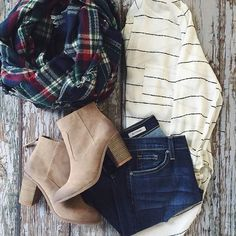 White striped tee + plaid scarf + jeans + booties