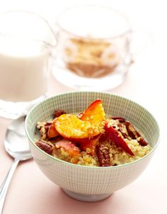 Cinnamon Quinoa Cereal with Peaches and Toasted Pecans