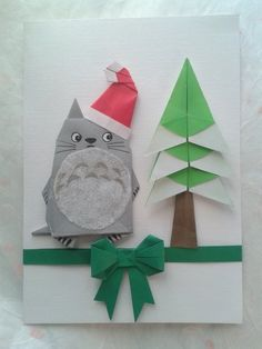 Origami Totoro Greetings Card. Folded by me.