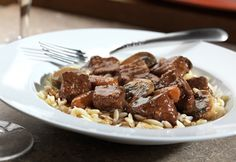 A hearty, French-style stew in less than one hour? Its possible with this streamlined recipe featuring beef broth and a little red wine mixed with savory herbs, mushroomsand skillet-simmered beef.