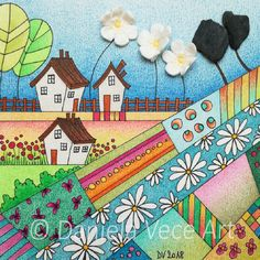 Blue countryside landscape with stones and white clay flowers. Pen, White Clay, Markers, Clay, Painting, Art