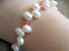 Pink Crystal and Pearl Bracelet by StitchedForYou on Etsy, $6.50