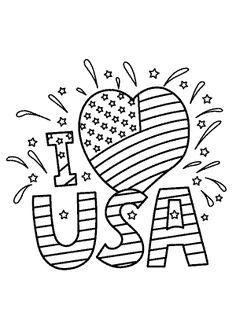 I love USA coloring pages, July 4 independence day coloring pages for kids, printable free