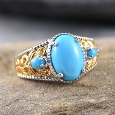 Arizona Sleeping Beauty Turquoise Ring in 14K Yellow Gold and Platinum Overlay Sterling Silver (Nickel Free)