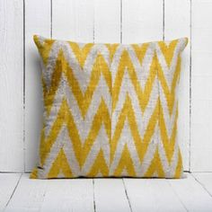 Soft Hand Woven - Silk Velvet Ikat Pillow Cover- cream yellow