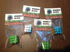 Minecraft Party themed Rainbow Block Birthday Favors!   I used mini Rubix Cubes from Party City as the favor.   A HUGE HIT AT PARTIES!!! These favors are awesome at any birthday party.