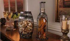 #Wine Barrel & Bottle Cork Storage Set