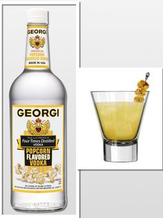 Pop Tart on the Rocks:  2 oz.  Georgi Popcorn Flavored Vodka/ 1 oz.  Simple Syrup/ 1 oz.  Fresh Lemon Juice/ Shake well in cocktail shaker/ Pour over Ice