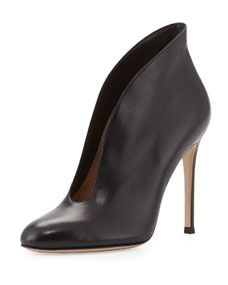 Gianvito Rossi Leather V-Neck Ankle Bootie, Black $820.00