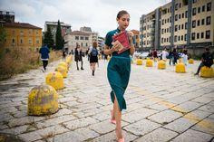 Jenny Walton, Street Style: Milan Fashion Week Spring 2017: Teal Dress, Pink High Heel Shoes, Wrap Dress   coveteur.com