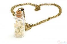 Naszyjnik Złoto Antyczne buteleczka z gipsówką