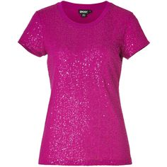 DKNY Jazzberry-Magenta Cotton Allover Sequined T-Shirt ($130) ❤ liked on Polyvore