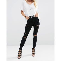 ASOS Ridley High Waist Skinny Jeans in Black with Shredded Rips ($52) ❤ liked on Polyvore featuring jeans, black, high waisted distressed jeans, ripped jeans, super high-waisted skinny jeans, super skinny jeans and high-waisted skinny jeans