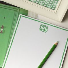 Personalized Meal Planner - Polka Dot Pear - Stationary - I could write pretty little notes with this monogrammed note pad - Thoughtful Bridal Shower Gifts, Monogram Stationary, Monogrammed Stationery, Custom Stationery, Just In Case, Just For You, Love Design, Initials, Gift Wrapping