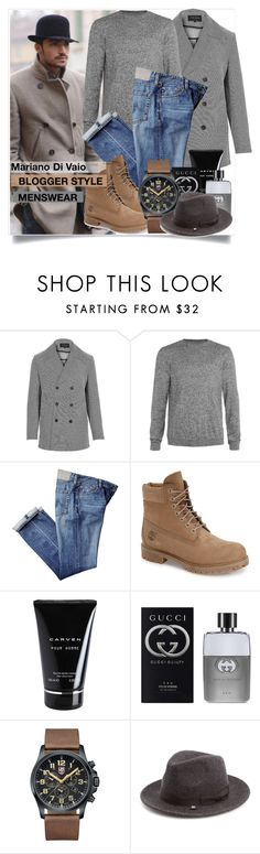 """""""Men ' s fashion - Mariano Di Vaio"""" by sofirose ❤ liked on Polyvore featuring River Island, Topman, Timberland, Carven, Gucci, Luminox, Block Headwear, mens, men and men's wear"""