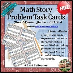 Math Word Problem Task Cards for Common Core This is a basic set of 8 math word problem task cards that align with the Common Core - CCSS.Math.Content.4.0A.A.3. They are aimed at fourth grade and practice key essential math skills. The cards can also be used with well-functioning third grade students or for review with fifth grade students.