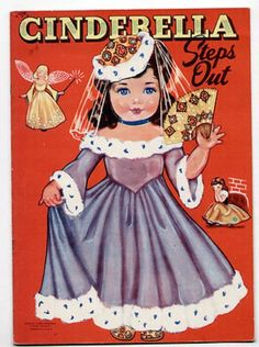 Vintage Lowe #1242 CINDERELLA STEPS OUT paper dolls 1948 by QUEEN HOLDEN/cut (07/21/2013)