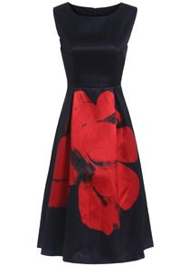 Navy Sleeveless Floral Flare Tank Dress Sundress