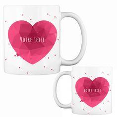 Mug Cœur à Personnaliser Cadeau St Valentin, Cadeau Couple, Mugs, Tableware, Custom Made Gift, Personalized Mugs, Dinnerware, Tumblers, Dishes