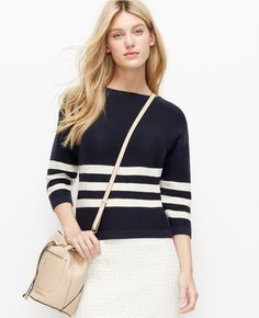 cf6fdb0f33aa1 A spring weather staple, the cotton sweater, with bold white stripes Stitch  Fix Stylist