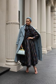Blair wearing a plaid organza skirt with matching top from the upcoming Atlantic-Pacific x Halogen collection - available exclusively at Nordstrom Iranian Women Fashion, Womens Fashion, Fashion Edgy, Fashion 2020, Blue Fashion, Women's Summer Fashion, Autumn Winter Fashion, Light Blue Coat, Atlantic Pacific