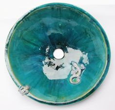 unique turquoise sink with lizards washbasin by clayopera on Etsy