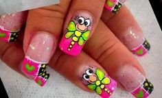 The most adorable nail art! Super Cute Nails, Great Nails, Fabulous Nails, Perfect Nails, Butterfly Nail Designs, Acrylic Nail Designs, Nail Art Designs, Owl Nail Art, Zebra Print Nails