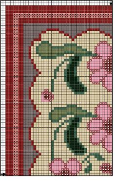 Cross Stitch Borders, Cross Stitch Designs, Cross Stitching, Cross Stitch Embroidery, Hand Embroidery, Needlepoint Stitches, Needlework, Tapete Floral, Loom Beading