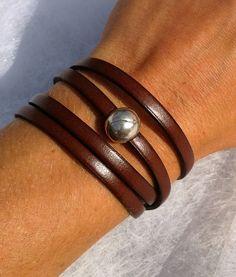 Bracelet en cuir véritable Marron fermoir Boule plaqué argent : Bracelet par scart