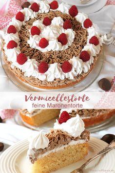 VERMICELLESTORTE - FEINE MARONENTORTE: Ich liebe es, schweizer Spezialitäten zu veganisieren und da darf Vermicelles nicht fehlen – heute mal als Vermicelles-Torte – feine Maronen-Torte. Vermicelles ist ein schweizer Dessert, dass man in Deutschland leider nicht findet. #vermicelles #vermicellestorte #maronentorte #maroni #maronencreme #veganbacken #kleinstadthippie Cupcakes, Cupcake Cakes, Vegan Sweets, Low Carb Desserts, Deli, Sweet Tooth, Bakery, Gluten Free, Party