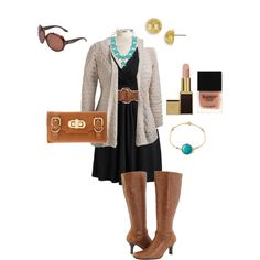 Black and Tan - Plus Size Fall Outfit - Wide Calf Boots, created by alexawebb on Polyvore